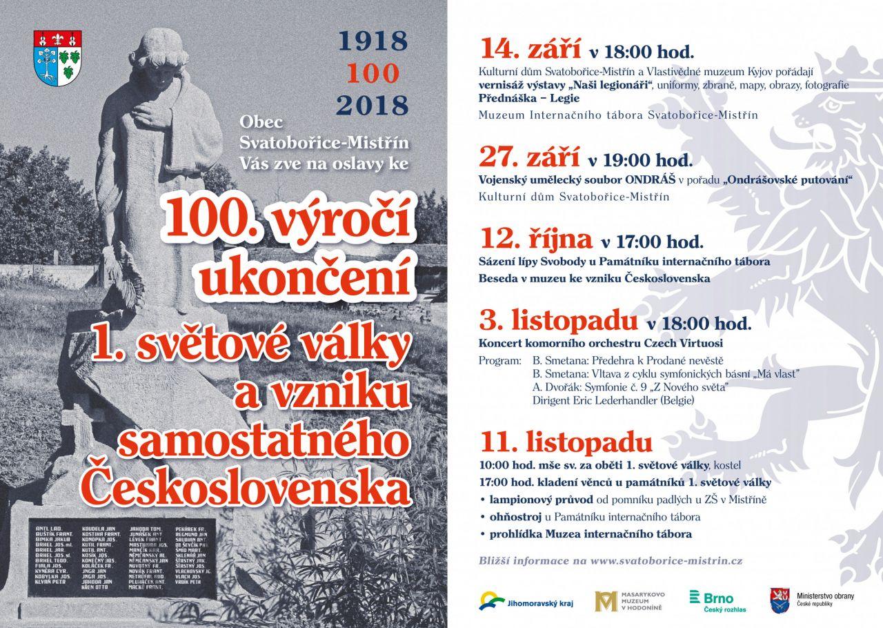 100.výročí ukončení 1.svět. války a vznik Československa 1